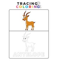 Funny antelope deer animal tracing and coloring vector