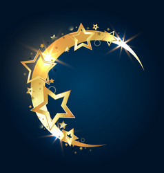 Golden month with stars vector