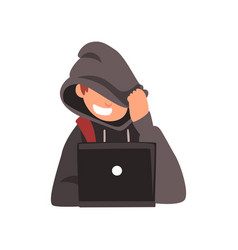 Hacker hiding his face under hood trying to cyber vector