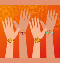 Hands with hindu bracelets decoration design vector