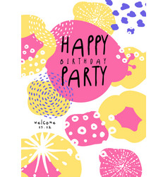 Happy birthday party poster with date template vector