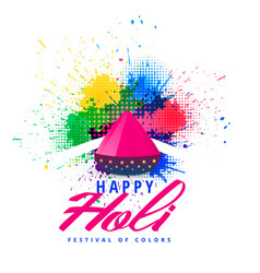 happy holi abstract colorful splash background vector image