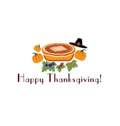 happy thanksgiving with pie pilgrim hat and vector image