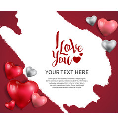 I love you design with heart balloon and white vector