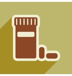 Icon of bottle of pills in flat style vector
