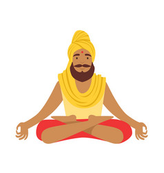 indian yogi in padmasana lotus pose wearing vector image