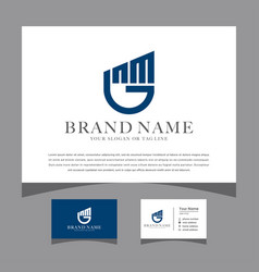 Initials gnm logo with a business card vector