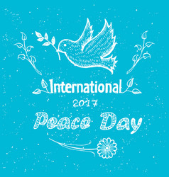 international peace day poster with dove flying vector image