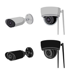 Isolated object cctv and camera sign set of vector