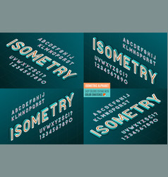 Isometric alphabet 4 in 1 3d letters and numbers vector