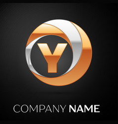 letter y logo symbol in the golden-silver circle vector image