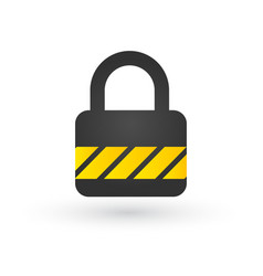 lock with yellow striped line in flat style design vector image