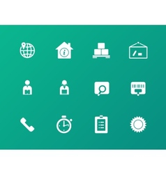 Logistics icons on green background vector image