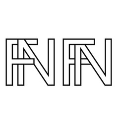 Logo sign fn and nf icon sign interlaced letters n vector