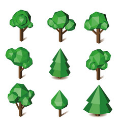 Low poly green triangle pixel tree set vector