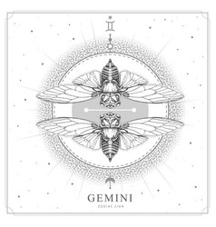 Magic witchcraft card with gemini zodiac sign vector
