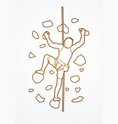 Man climbing on wall vector