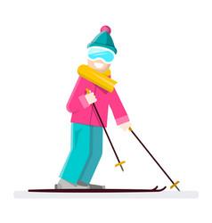 man on ski skier cartoon vector image