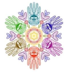 Mandala with hands Hamsa Helping hands vector