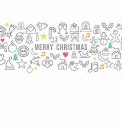 Merry Christmas pattern outline icons set card vector image