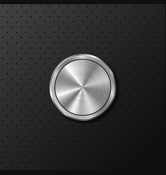 metal button on black iron background vector image