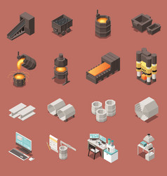 Metal industry isometric icons set vector