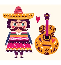 Mexican and guitar vector image