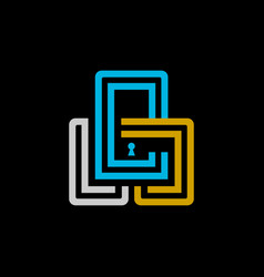 monogram padlock design with initials vector image
