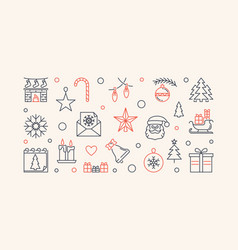 New year horizontal outline or vector