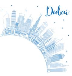 Outline dubai uae city skyline with blue vector