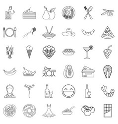 Party maker icons set outline style vector
