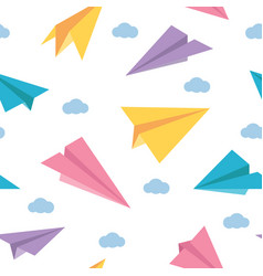 pastel paper planes seamless colorful cute pattern vector image