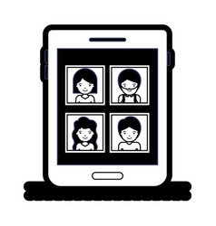 people picture profiles social network in tablet vector image