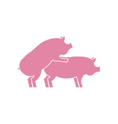 Pig sex icon piggy intercourse sign pigs isolated vector