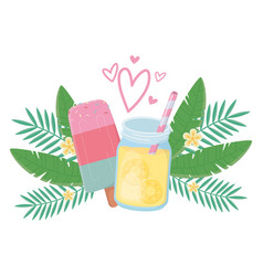 Pineapple juice and popsicle design vector