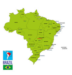 Political map of brazil vector
