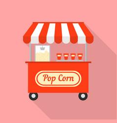 Pop corn street shop icon flat style vector