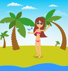 Pretty girl with long brown hair in bikini on the vector image