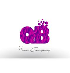 qb q b dots letter logo with purple bubbles vector image