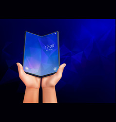 realistic foldable smartphone background vector image