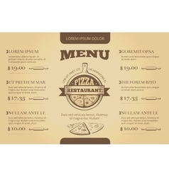 Restaurant cafe pizzeria menu template vector