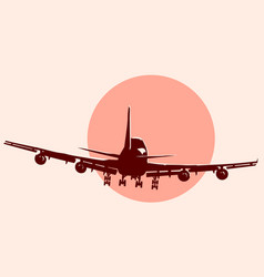 Round logo of flying airplane vector