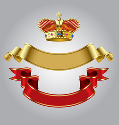 Royal crown with gold and red ribbons vector