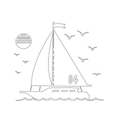 sailing yacht in sea silhouette line art vector image