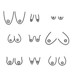 Set hand drawn female breast vector