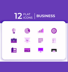 set of 12 business modern flat icons for website vector image