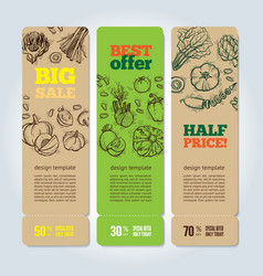set of banners with vegetables vector image