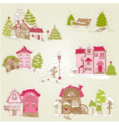 Set of Christmas Houses vector