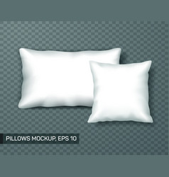 set of white pillow mockup or template front view vector image