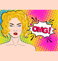 Sexy surprised blonde pop art woman with wide vector